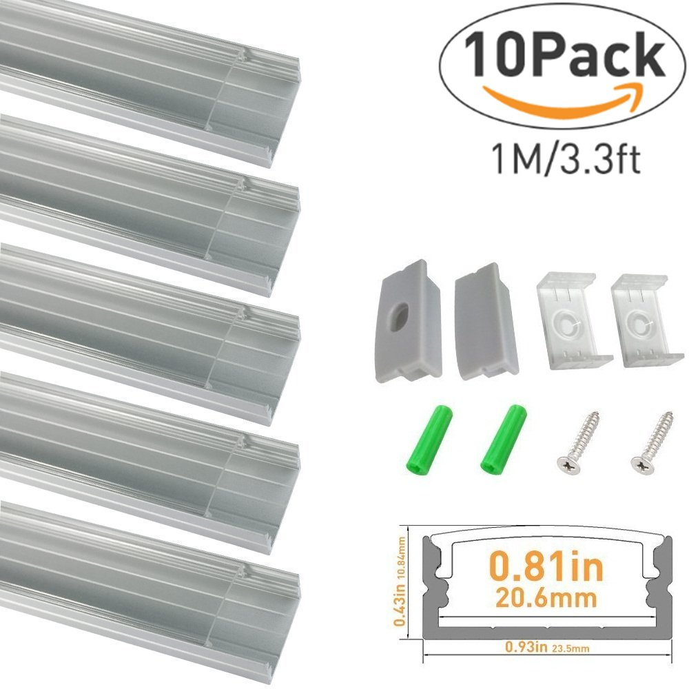LED Aluminum Channel with Clear Cover, LightingWill 10 Pack 3.3Ft/1M U Shape Surface Mount (Section Size:0.40'' x 0.91'') Anodized Silver Channel System for <20mm LED Strip Lights with Caps+Clips U04