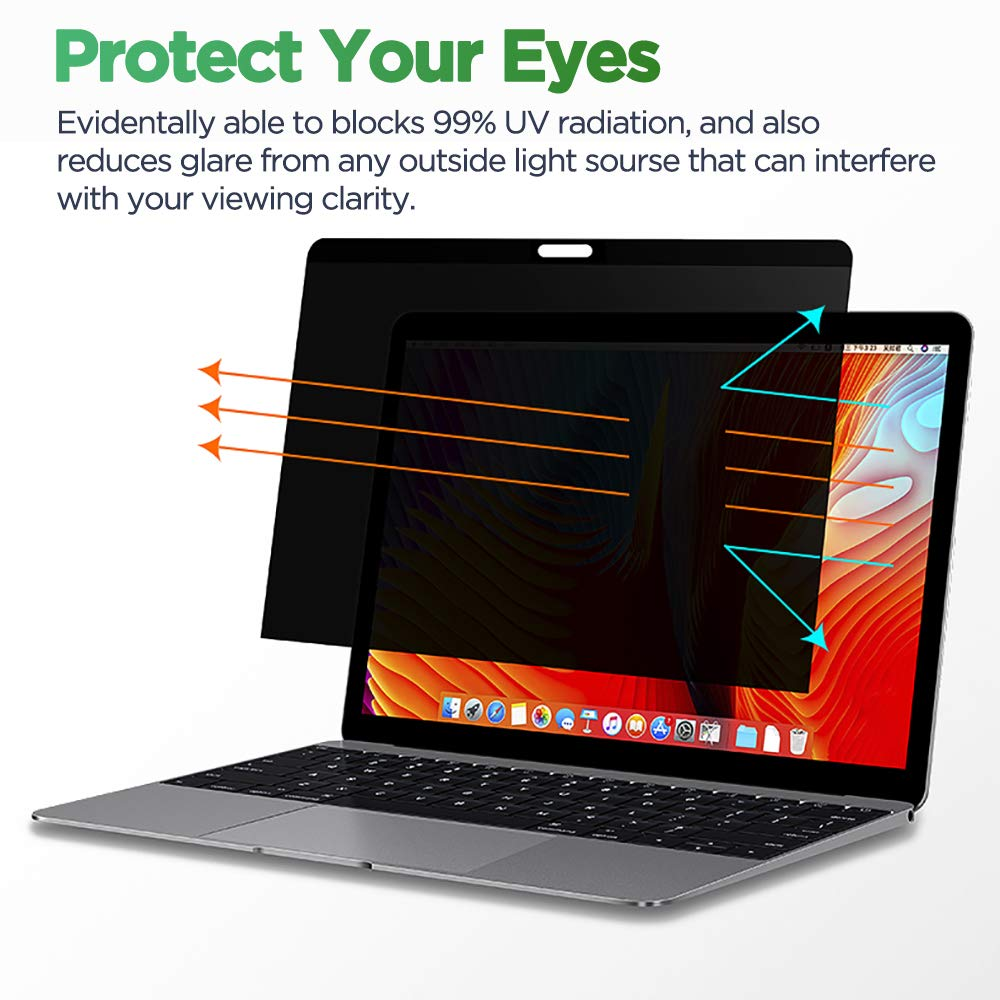 Privacy Screen Filter 14''- Information Protection Privacy Filter for Laptop - Anti-Glare, Anti-Scratch, Blocks 96% UV - Matte or Gloss Finish Privacy Screen Protector - 16:9 (14 inch) by Hunsuetek (Image #3)