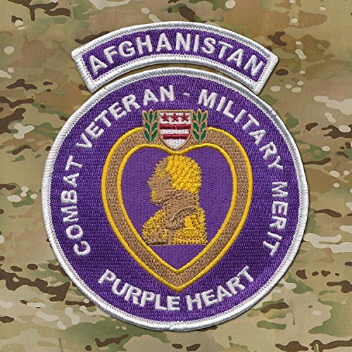 Medal Military Heart (AFGHANISTAN TAB - US Military Purple Heart Embroidered Patch 4 1/2