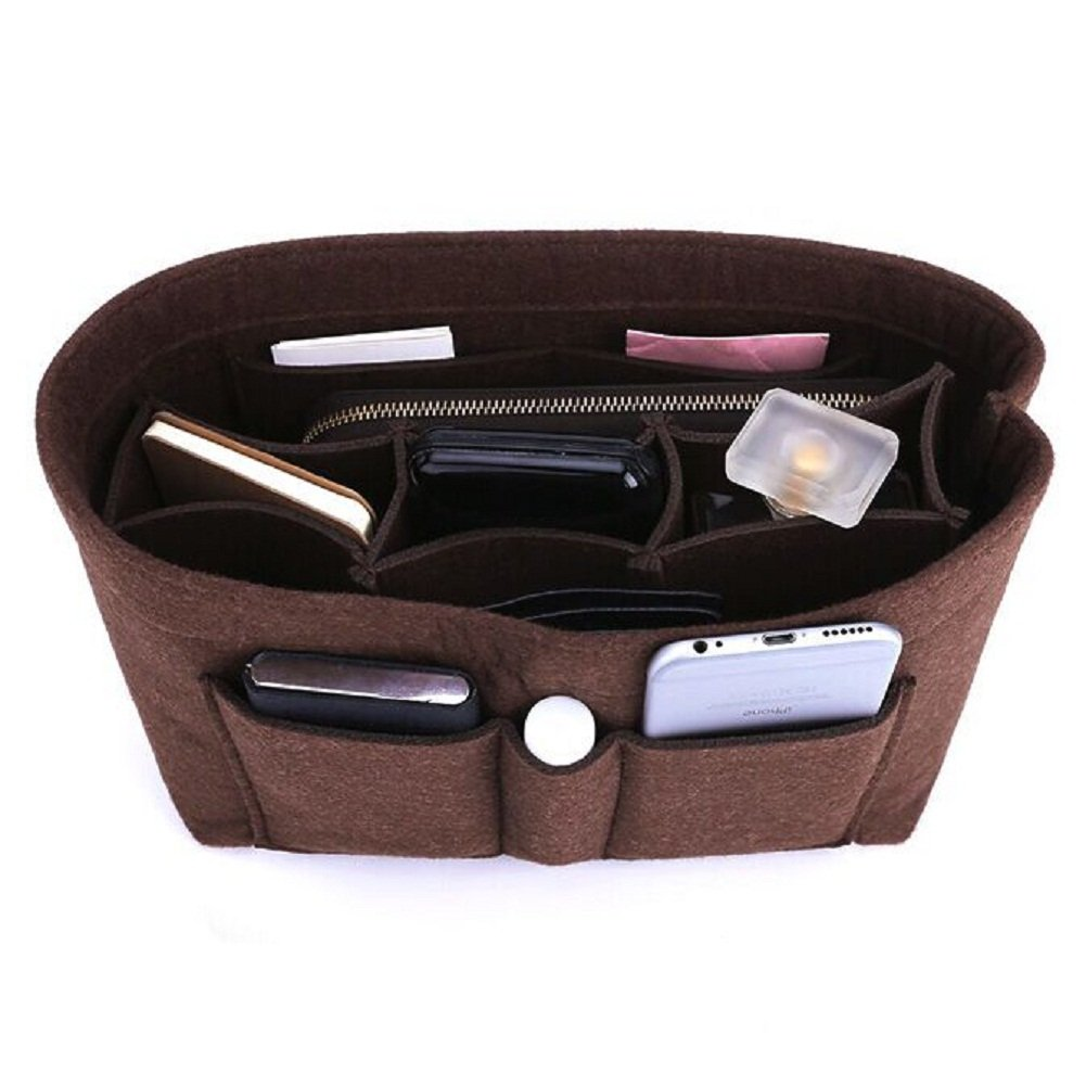 Felt Insert Bag Organizer Bag In Bag For Handbag Purse Organizer, Six Color Three Size Medium Large X-Large (Medium, Coffee)