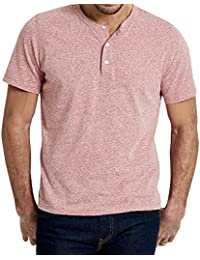 Mens Casual Slim Fit Short Sleeve Henley T-Shirts Cotton Shirts