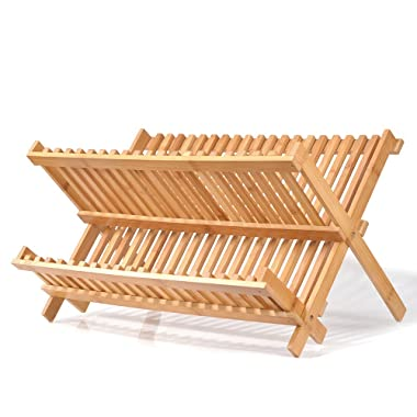 Natural Bamboo Dish Drying Rack, SZUAH Collapsible Dish Plate Drainer Rack, 2-Tier Dish Drying Holder, with 20 Slats, 17.5  x 13  x 9.6  …