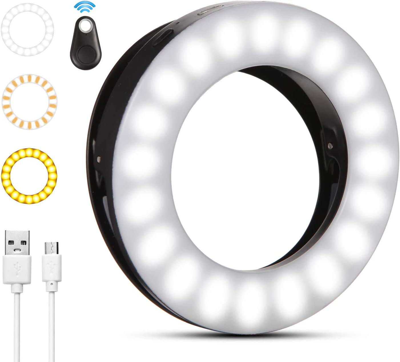 Disnadda Selfie Ring Light,3 Lighting Modes Rechargeable Clip on Selfie Fill Light with 40 Led for iPhone Laptop Android Smart Phone Photography, Camera Video, Girl Makes Up(White) (Black)