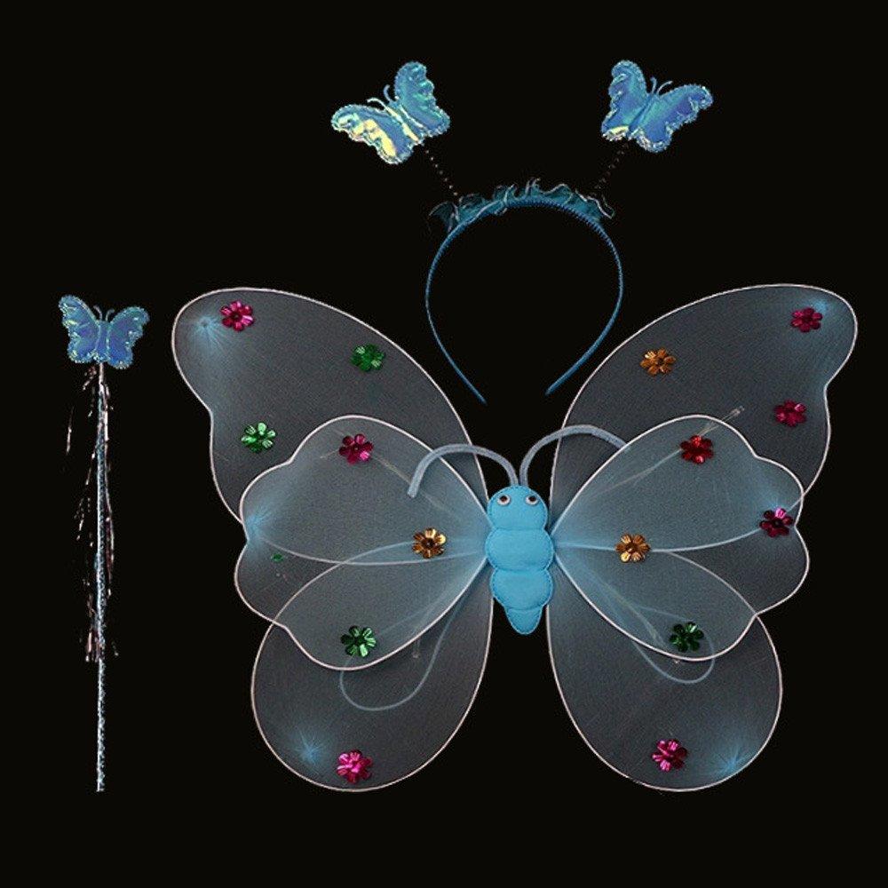 Malloom® Zubehör 3/Set Mädchen Jungen LED-Blinklicht Fairy Schmetterling Flügel Zauberstab Haarband Zauberstab LED-Blinklicht Kostüm Spielzeug 40*31cm)