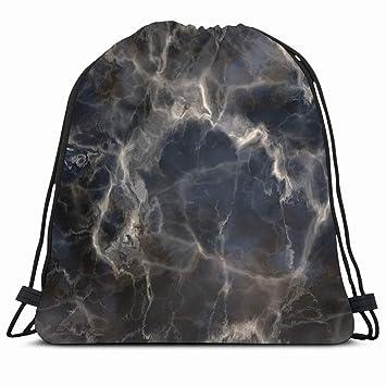 Drawstring Backpack String Bag 14x16 Blue Dark Marble Finish ...