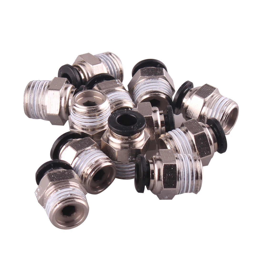 1/4' PT Male Thread 8mm Push In Joint Pneumatic Connector Quick Fittings 12 Pcs Ted Lele (8mm 1/4)