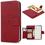S7 Edge Case MAXFE.CO Premium PU Leather Wallet Case Detachable Magnetic Stand Flip Case [Flower] Pattern Embossed for Samsung Galaxy S7 Edge Additional Card Holder Full Protection Case - Red