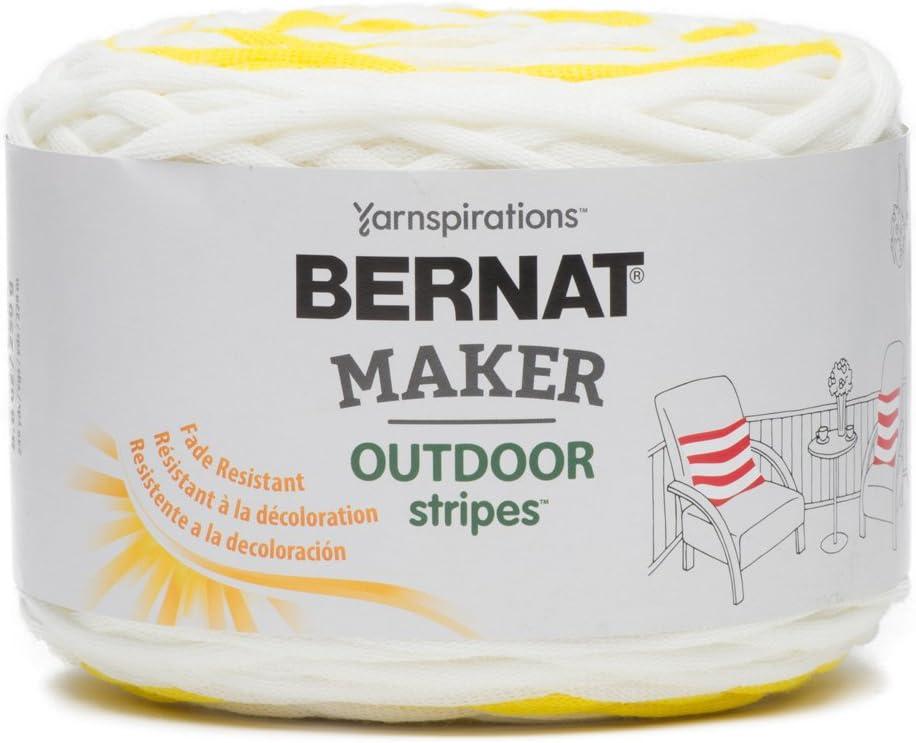 BERNAT Maker Outdoor Stripes -250g- Fresh Sand Stripe