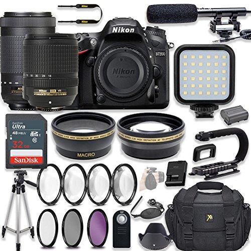 Nikon D7200 24.2 MP DSLR Camera Video Kit with AF-S 18-140mm VR Lens & AF-P 70-300mm ED VR Lens + LED Light + 32GB Memory + Filters + Macros + Deluxe Bag + Professional Accessories
