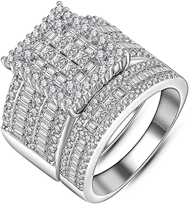 Amazon Com Hiyong Women Wedding Ring Set White Gold Cubic Zirconia Wedding Rings Fashion Sliver Engagement Rings For Women Clothing