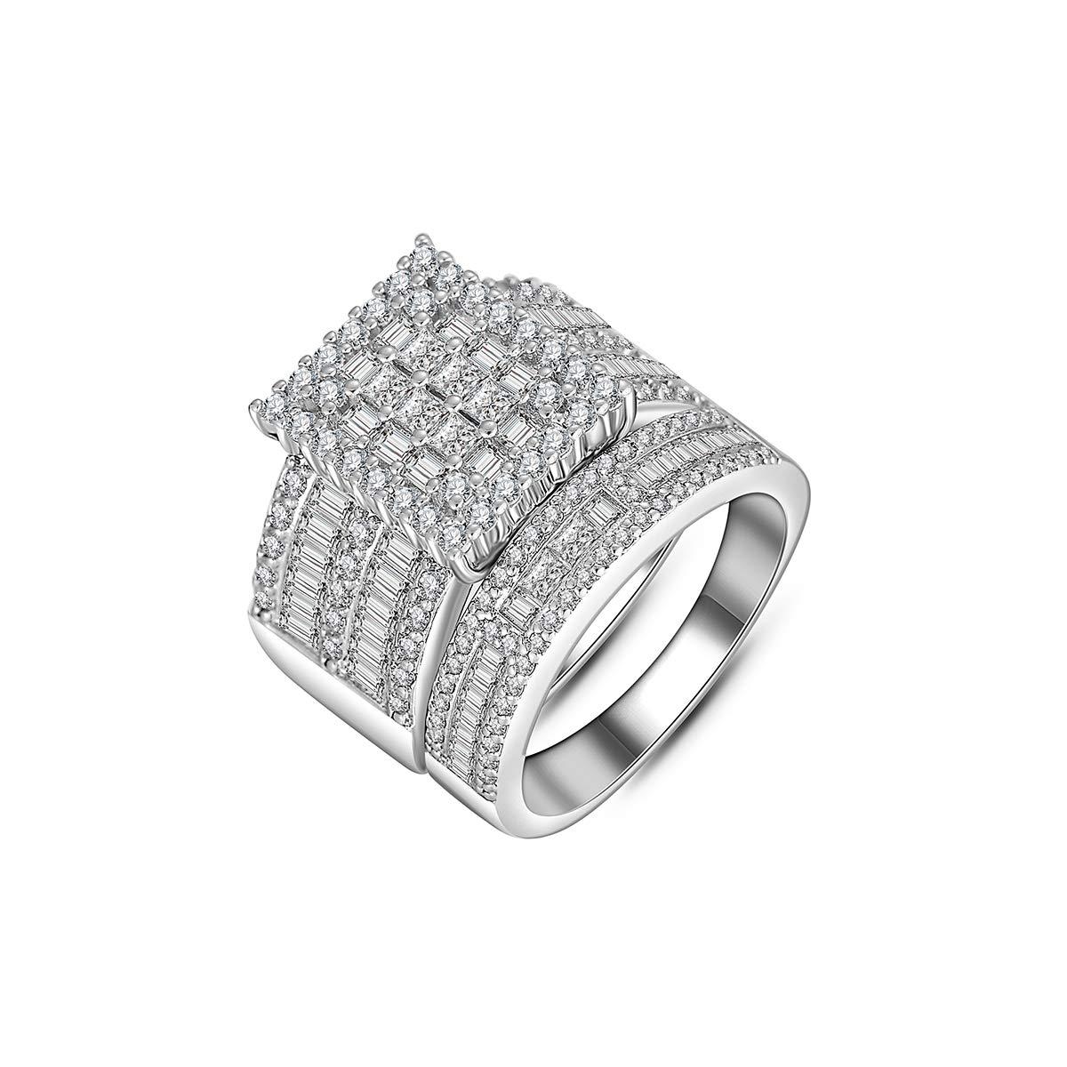 Hiyong Women Wedding Ring Set White Gold Cubic Zirconia Wedding Rings Fashion Sliver Engagement Rings for Women