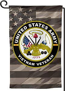 Army Vietnam Veteran Decorative Garden Flag Home Decor Yard Banner 12.5X18 Inch Printed Double Sided Square