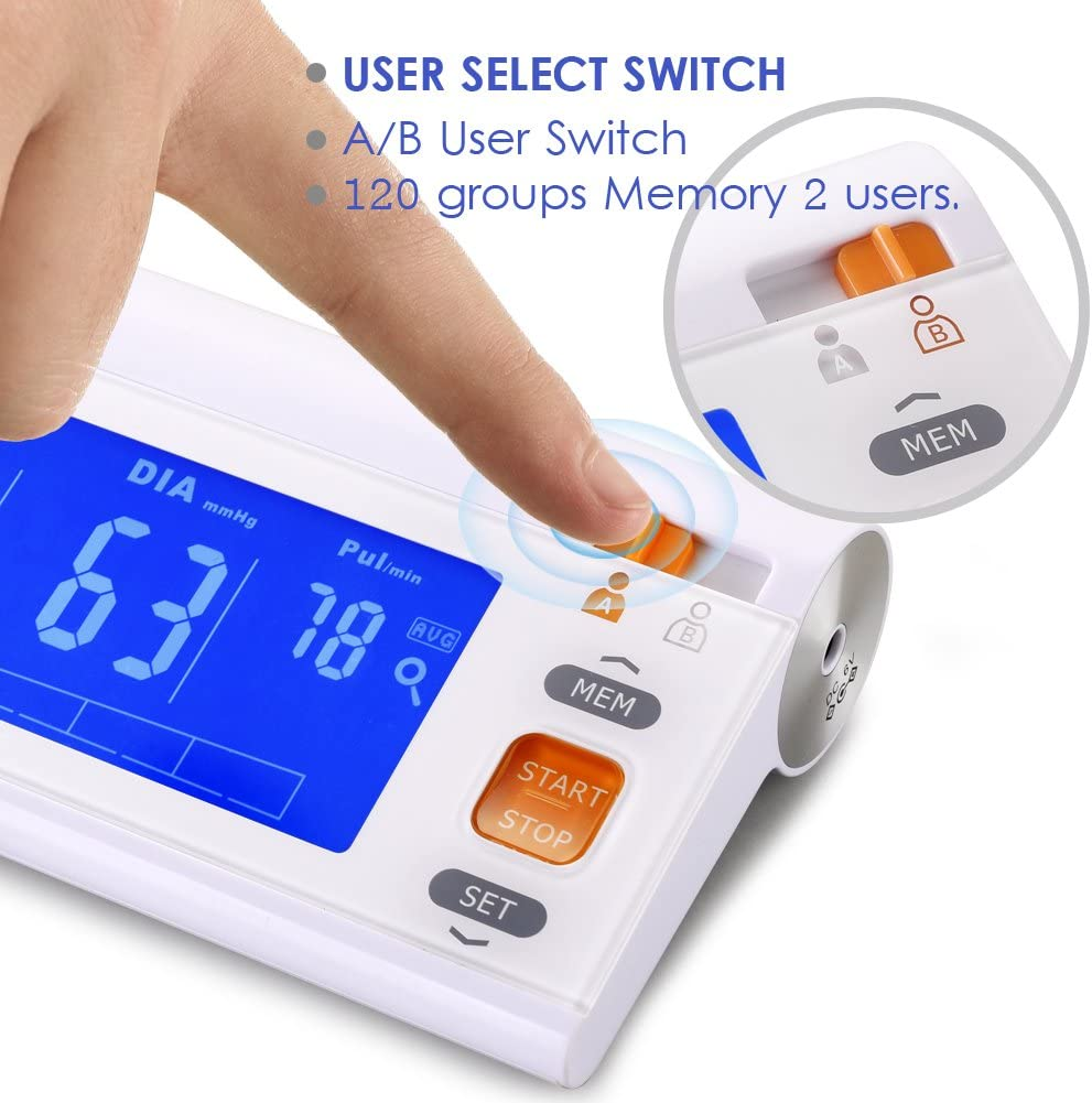 Automatic Upper Arm Blood Pressure Monitor Machine Adjustable Large Cuff, LCD Screen Blue Backlit, FDA Approved Highly Accurate Digital BP Cuff, 120 Groups Memory A B User Switch Travel Bag Included
