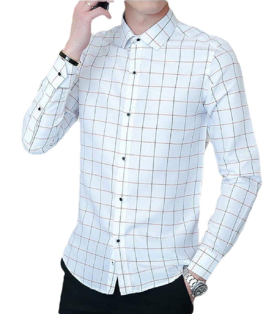 Generic Mens Cotton Long Sleeve Plaid Slim Fit Button Down Dress Shirt Tops Blouses