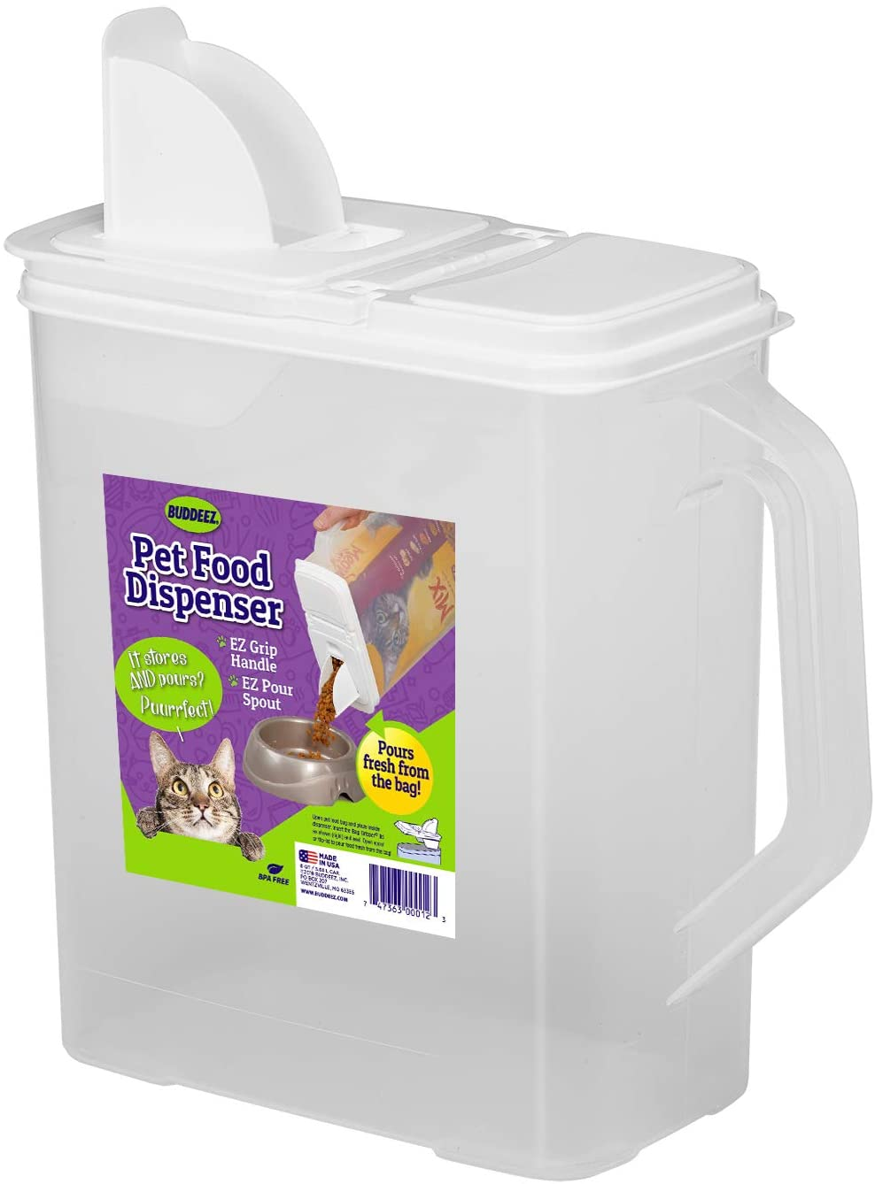Buddeez 6-Quart Dispenser for Pet Food and Bird Seed, White, Large (01206W-BAG)