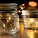 Solar Mason Jar Lights - 3 Pack of Lids for Regular Mouth Mason Jars - Soft White Color - 8 Fairy Lights per string for a firefly effect