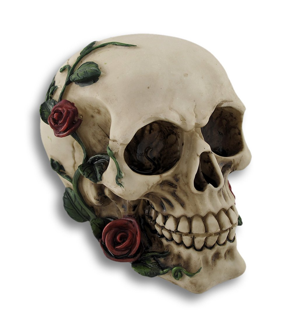 Things2Die4 Morbidly Elegant Human Skull with Rose Vines Statue