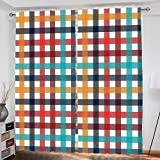 Cheap househome Checkered Custom design Colorful Fresh Summertime Pattern Design Gingham Plaid Striped Traditional Picnic curtain Living Room Bedroom Window Drapes 2 Panel Set 108″x84″ Multicolor
