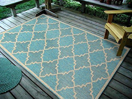 Furnish My Place Design1095 Ocean 6 7 x9 7 Nylon Contemporary Geometric Trellis Durable Area Rug for Indoor Outdoor, Washable Floor Mat, Ocean Blue