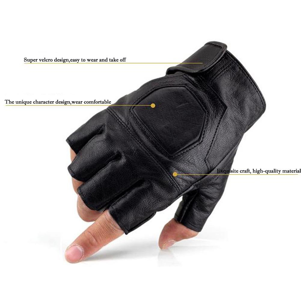 K-mover Half Finger Leather Gloves Fingerless Street Dance Glove Cycling Gloves Universal Fit One Size by K-mover (Image #4)
