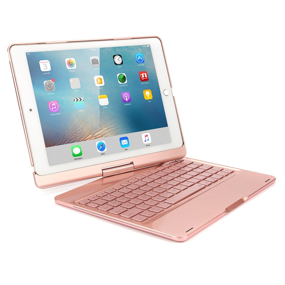 Sammid Bluetooth Keyboard Case for 2018 New iPad 9.7, 360 Degree Rotation with Multiple Angle Viewing Keyboard Case Smart Auto Sleep-Wake Cover for 9.7 inch 2017/2018 New iPad - Rose Gold