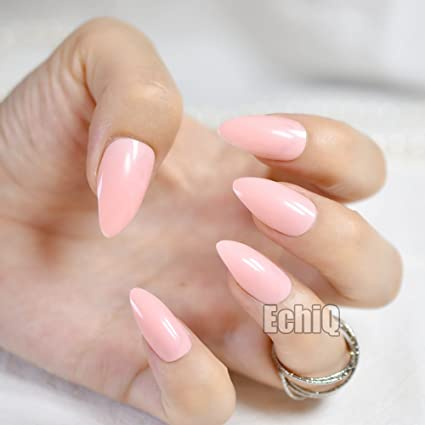 echiq Fashion rosa Lotus Color Oval Sharp End Stiletto uñas postizas manicura uñas postizas Tips Uñas