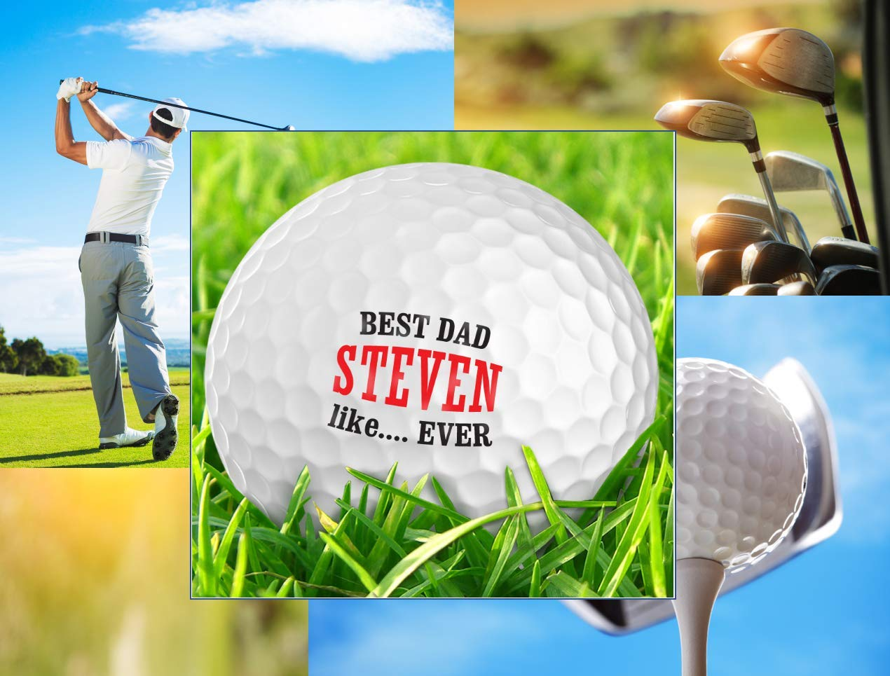 Infusion Father's Day Best Dad Like.Ever Golf Balls - Personalize The Name (12 Balls)