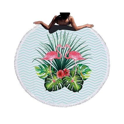 JUNYZSTJ Toalla De Playa Redonda De Microfibra Estampada De Flamenco con Borlas Toallas De Baño De