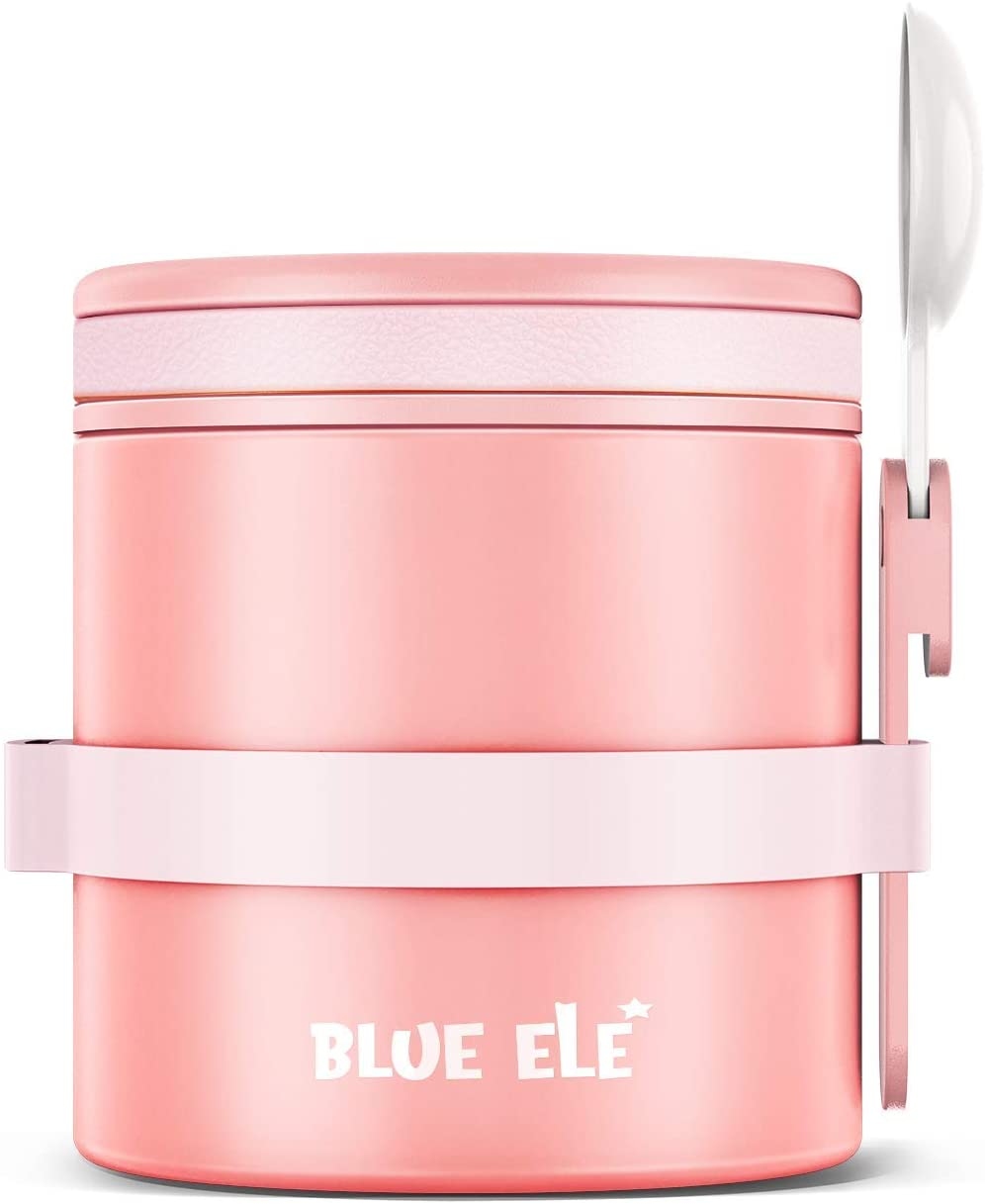 Blue Ele Leakproof, Vacuum Insulated Thermos Hot Lunch Containers with Ceramic-Coated Stainless Steel, Easy Grip Lid, and Folding Spoon (14oz)