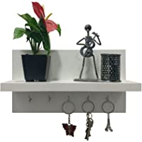 A10 Shop Omega 6 Wall Mounted Decor Shelf with Key Hooks