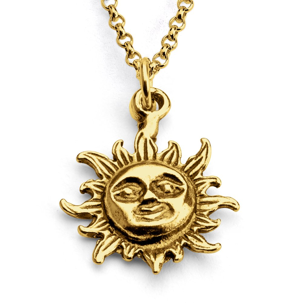 Azaggi Gold Plated Silver Necklace Smiling Sun Face Celestial Symbol Yellow Dwarf Star of the Solar System Cute Pendant Necklace.This Gold Plated Necklace is the Perfect Jewelry Gift