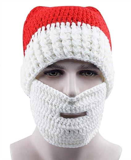 789930b7b34 Christmas Winter Hats Santa Beard Mask Christmas Caps Hat Knit Winter Cap  Unisex Warm Beanie Skull Handmade Hats Ski Cap for Holiday Party Gift   Amazon.ca  ...