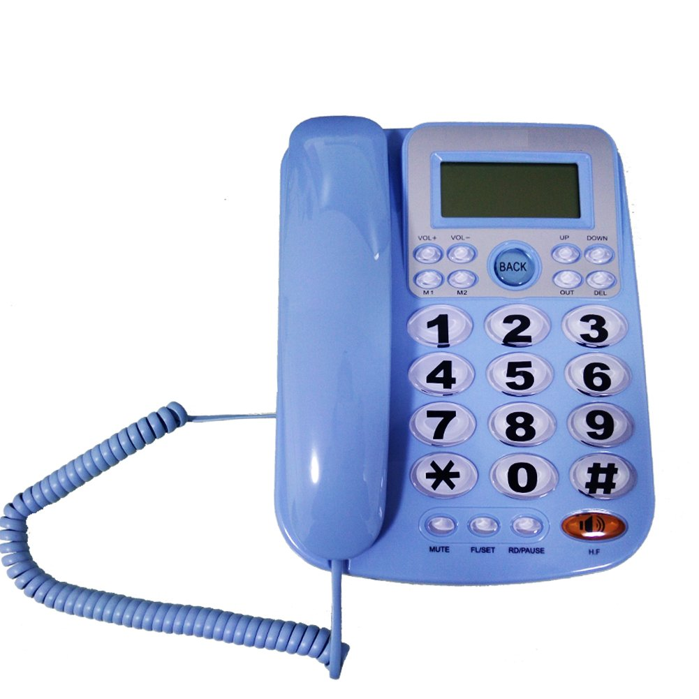 HePesTer P-34Blue Big Button Phone for Seniors Amplified Corded Phone with Caller ID for Hearing Impaired Works in Power Outage for Emergency Telephone(Blue)