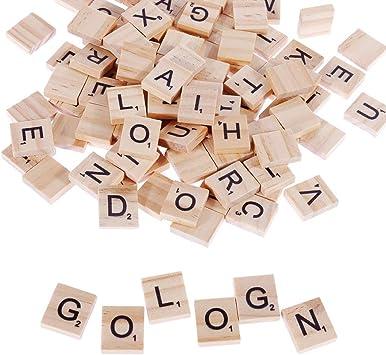 Gobesty Scrabble Letters, Rompecabezas de Madera del Alfabeto para Manualidades Juego de ortografía Letras inglesas para Decoraciones de Bricolaje, Paquete de 100: Amazon.es: Juguetes y juegos