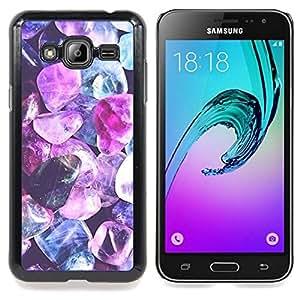 - purple crystal gem blue jewel diamond - - Modelo de la piel protectora de la cubierta del caso FOR Samsung Galaxy J3 RetroCandy