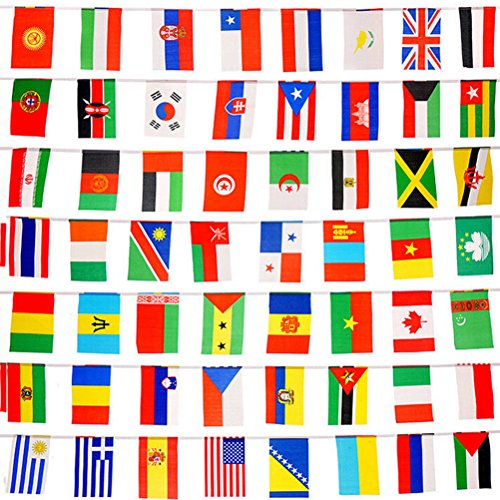 Buytra 100 Countries Flags 82ft International Flags Bunting Banner for Party Decorations,Olympics,Grand Opening,Bar,Sports Clubs,School Events,Cultural Studies and More