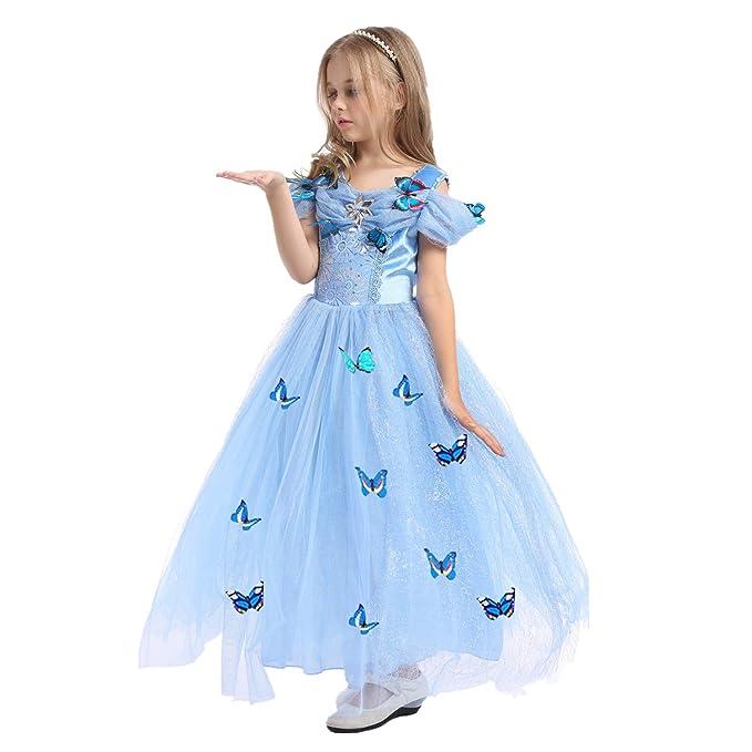 Qincos Vestido de Princesa para Niñas Vestido Infantil Azul con Mariposa Disfraz de Princesa para Fiesta Halloween Carnaval Cumpleaños