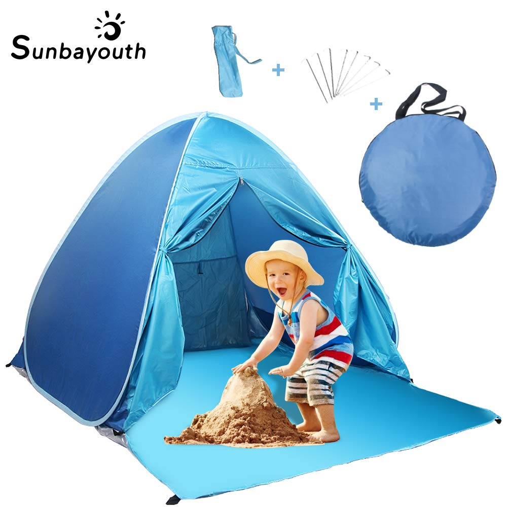 SUNBA YOUTH Beach Tent, Anti UV Beach Shade, Instant Portable Tent Sun Shelter, Pop Up Baby Beach Tent, for 2-3 Person (Blue) by SUNBA YOUTH