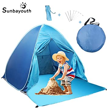 the best attitude 13782 c38da SUNBA YOUTH Beach Tent, Beach Shade, Anti UV Instant Portable Tent Sun  Shelter, Pop Up Baby Beach Tent, for 2-3 Person