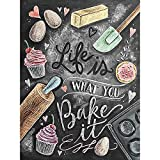 you bake - zhui star DIY full drill round diamond painting cross stitch kits gift word card life is what you bake it home decoration 30x40CM