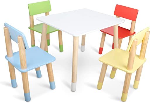 Bammax Kids Table and Chairs Set, Children Toddler Table and 4 Chairs Set Wooden Activity Table Dining Table Indoor Play Table Chair for 2 8 Years Old