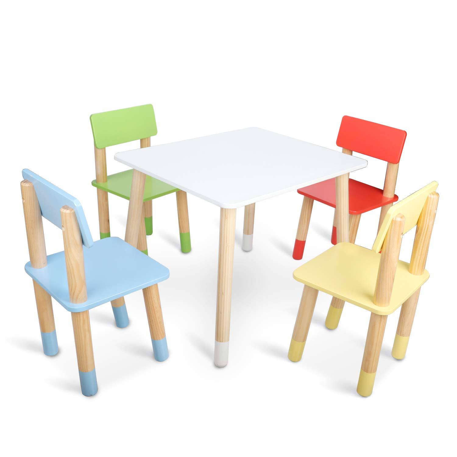 Kids Table and Chairs, BAMMAX Toddler Table and 4-Chairs Set Wooden Activity Table Dining Table Indoor Play Table Chair for 3~8 Years Old Children, BPA-Free, Easy to Assemble by Bammax
