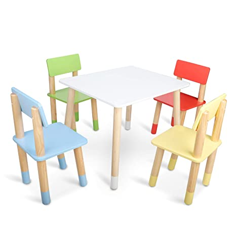 Kids Table and Chairs, BAMMAX Toddler Table and 4-Chairs Set Wooden  Activity Table Dining Table Indoor Play Table Chair for 3~8 Years Old  Children, ...