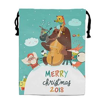 Merry Christmas Animals.Amazon Com Cute Merry Christmas Animals Santa Kids Drawstring