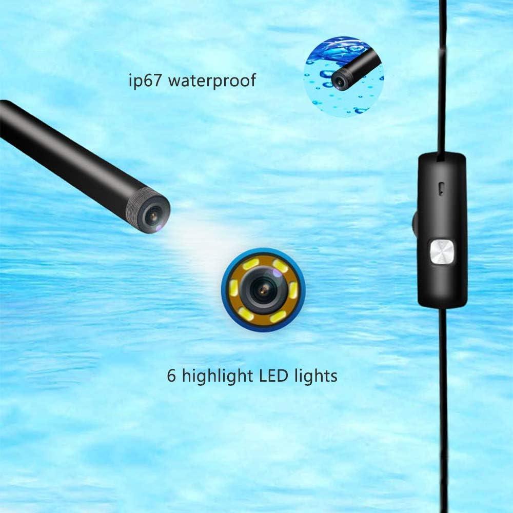 QIANG Drahtlose Inspektionskamera WiFi Endoskop 5,0 Megapixel HD Borescope Starre Schlangenkabel F/ür IOS iPhone Android Samsung Smartphone,1m