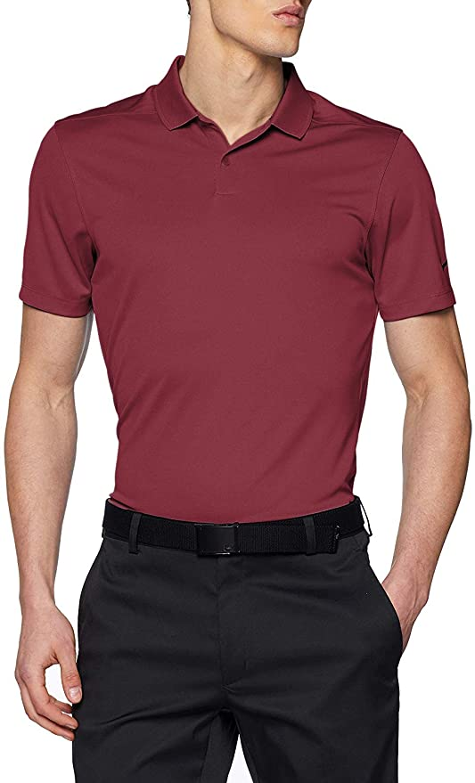 NIKE Mens Dry Victory Solid Golf Polo (Team Maroon/Black, Large ...