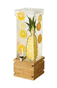 Rosseto LD179 2 Gal. Rectangle Clear Acrylic Beverage Dispenser with Bamboo Base