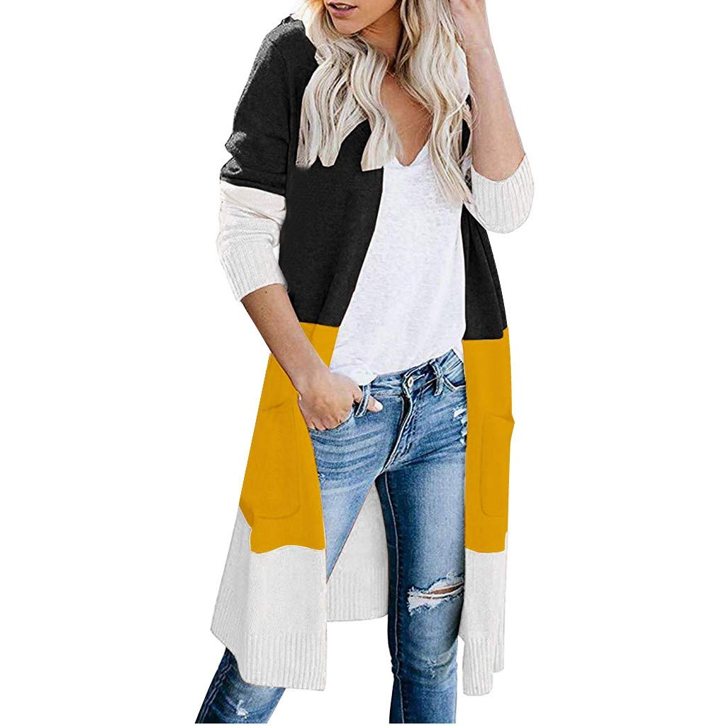 SturrlyWomens Boho Open Front Cardigan Colorblock Long Sleeve Loose Knit Lightweight Sweaters Black by Sturrly
