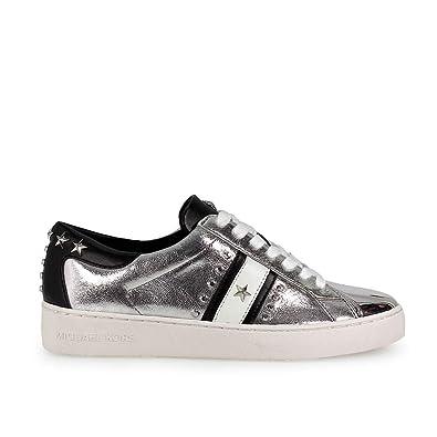 7c450d220de0d Michael Michael Kors Women¡¯s Frankie Metallic Leather Striped Sneakers 9  (B)