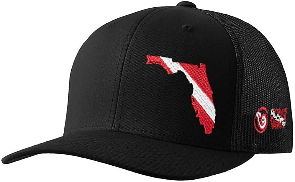 Born of Water Florida Scuba Diver Down Flag Trucker Hat Black